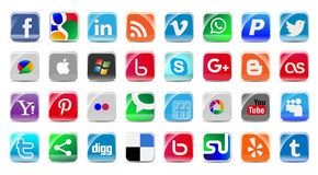 Social Media and network Buttons set Royalty Free Stock Photos