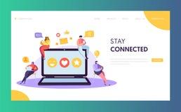 Social Media Network Character Chat Landing Page Design. Man Woman Communication Post. Global Internet Community royalty free illustration