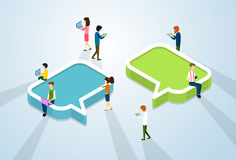 Social Media Network Communication People Crowd With Digital Device. Tablet Phone Laptop Computer Chat Bubble 3d Isometric Vector Illustration stock illustration
