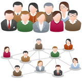 Social Media Network Community. Concept. Two different versions: banner with group of different people and a chart. Eps file available vector illustration