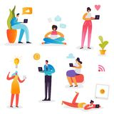 Social Media Network Concept. Characters using Mobile Gadgets Smartphone, Laptop, Tablet for Online Communication royalty free illustration