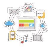 Social media network concept. Thin line vector Stock Photo