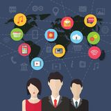 Social media network concept with users. Flat Stock Images