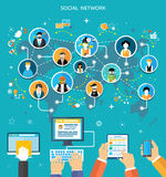 Social Media Network Connection Concept Stock Images
