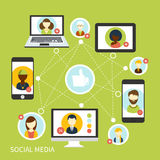 Social media network connection concept Stock Image