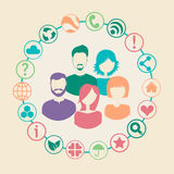 Social media network. Connection concept with group of people surrounded by social icons. Vector illustration Stock Photos