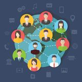 Social media network connection concept, vector. Social media network connection concept with user avatars around the globe. Flat design vector with infographic Stock Images