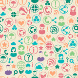 Social media network connection content. Seamless pattern with social media network connection concept. Group of people surrounded by social icons. Vector Stock Image