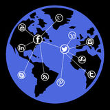 Social media network. Connections around the world Royalty Free Stock Images