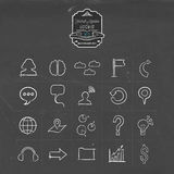 Social media network doodle line icon set. Social media hand drawn chalkboard icon collection, set of internet networking symbols. Includes gps location, chat Royalty Free Stock Image