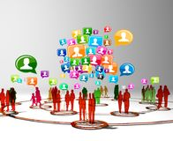 Social network buzz words and icons forming the shape of a talk bubble Stock Photography