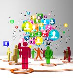 Social network buzz words and icons forming the shape of a talk bubble Stock Images