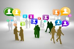 Social network buzz words and icons forming the shape of a talk bubble Royalty Free Stock Image