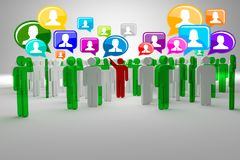 Social network buzz words and icons forming the shape of a talk bubble Royalty Free Stock Photography