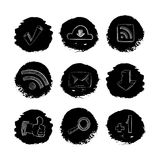 Social media network hand drawn icons set. Isolated in white. Vector illustration Royalty Free Stock Images