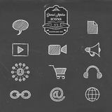Social media network handmade sketch icon set. Social media hand drawn chalkboard icon collection, set of online networking symbols. Includes chat, video camera Royalty Free Stock Photo