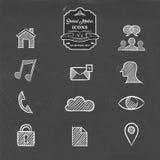 Social media network handmade sketch icon set Royalty Free Stock Photos