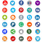 Social media network icons. Collection of 30 most popular social media and network buttons, isolated on white background Stock Image