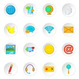 Social media network icons set, cartoon style Royalty Free Stock Images