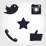 Social media and network icons set. Collection of different icon Stock Photos