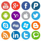 Social media and network icons sprayed stoke Stock Image