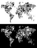 Social media network icons in World map figure Stock Images