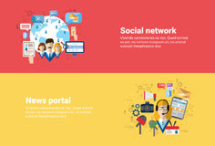Social Media Network Internet Connection Communication, News Portal Application Web Banner. Flat Vector Illustration Royalty Free Stock Images
