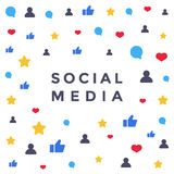 Social media network. Like symbol. Flat vector illustration for background or banner Royalty Free Stock Photo