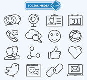 Social media and network lines icons Stock Photos