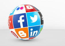 Social Media And Network Logotype On Globe. MILAN, ITALY - DECEMBER 7, 2015: Social media and network logotypes of famous Internet brand`s like Facebook, Twitter vector illustration