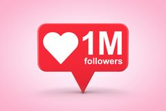 Social Media Network Love and Like Heart Icon with One Million F. Ollowers Sign on a pink background. 3d Rendering royalty free illustration