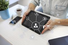 Social media network and marketing concept on virtual screen. Internet and business technology. SMM. royalty free stock images