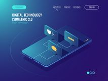 Social media network, mobile phone with message like icons, notification of mobile phone application isometric vector 3d. Social media network, mobile phone with Stock Images