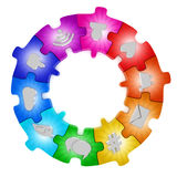 Social media network puzzle Royalty Free Stock Images