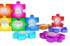 Social media network puzzle Royalty Free Stock Photography