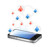 Social media network on a smartphone. illustration Royalty Free Stock Photos