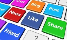 Social Media And Network Web Keyboard Royalty Free Stock Photography