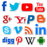 Social media networking apps png. Editorial social app icons stickers Royalty Free Stock Image