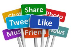 Social media concept. Social media and networking concept: group of color signs with social media services isolated on white background Royalty Free Stock Images
