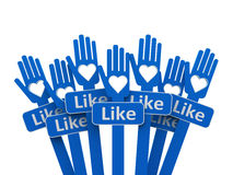 Hands with like Royalty Free Stock Photos