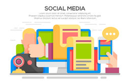 Social media networking concept. Vector illustration of social media networking, storytelling, producing creative, sharing of digital content. Modern flat Royalty Free Stock Photography