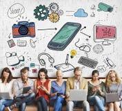 Social Media Networking Data Digital Sharing Concept. Social Media Networking Data Digital Sharing Royalty Free Stock Photo