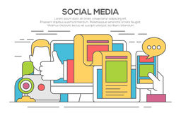 Social media networking thin line flat concept. Vector illustration of social media networking, storytelling, producing creative, sharing of digital content Royalty Free Stock Photography