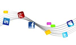 Social Media Networks. An illustration of social Media Networks with Waves Royalty Free Stock Images