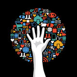 Social media networks hand concept tree stock photography