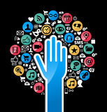 Social media networks hand concept tree royalty free stock images