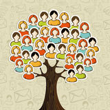 Social media networks tree. With people icons leaves over icons pattern background. Vector illustration layered for easy manipulation and custom coloring Royalty Free Stock Photography