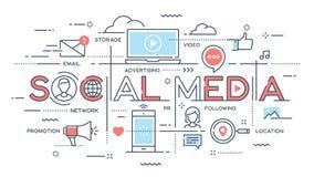 Social Media, Netz, Video, vermarktende dünne Linie Konzept stock abbildung