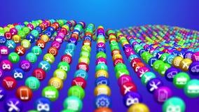 Social media news balls in concave rows Stock Photo