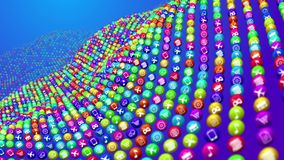 Social media news balls in wavy rows. 3d illustration of social media services in billiards balls placed in curvy rows. All balls are covered with images Royalty Free Stock Image